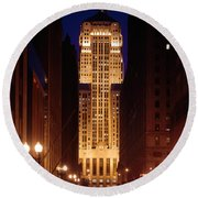Buildings Lit Up At Night, Chicago Round Beach Towel