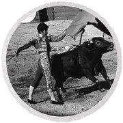 Bull Fight Matador Charging Bull Us-mexico  Border Town Nogales Sonora Mexico 1978-2012 Round Beach Towel