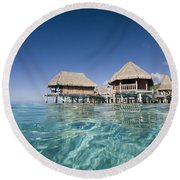 Bungalows Over Ocean Round Beach Towel