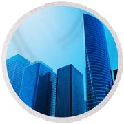 Business Skyscrapers Round Beach Towel