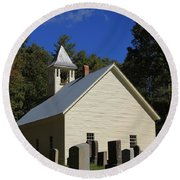 Cades Cove Primitive Baptist Church Round Beach Towel by Dan Sproul