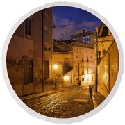Calcada Da Gloria Street At Night In Lisbon Round Beach Towel