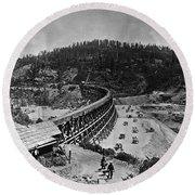 California Railroad Round Beach Towel