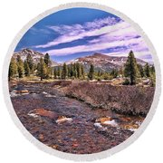 Canadian Rockies Stream Round Beach Towel