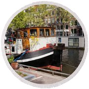 Canal In The City Of Amsterdam Round Beach Towel