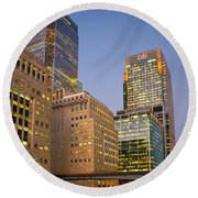 Canary Wharf. Round Beach Towel