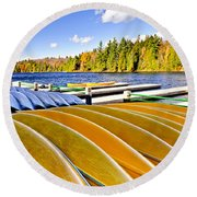 Canoes On Autumn Lake Round Beach Towel