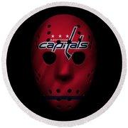 Capitals Jersey Mask Round Beach Towel