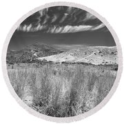 Capricious Clouds In The Volcanic Planet Round Beach Towel
