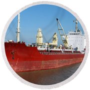 Cargo Ship Round Beach Towel by Olivier Le Queinec