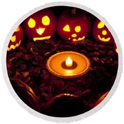 Carved Pumpkins With Pumpkin Pie Round Beach Towel