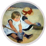 Cassatt's Children Playing On The Beach Round Beach Towel