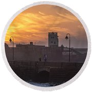 Castle Of Saint Sebastian Cadiz Spain Round Beach Towel