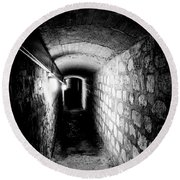 Catacomb Tunnels In Paris France Round Beach Towel