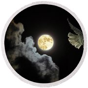 Caught By The Moon Round Beach Towel