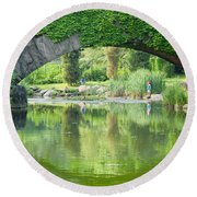 Central Park Gapstow Bridge II Round Beach Towel