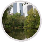 Central Park Pond Round Beach Towel