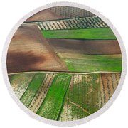 Cereal Fields From The Air Round Beach Towel
