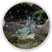 Cerulean Warbler Round Beach Towel