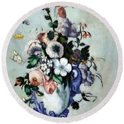 Cezanne's Flowers In A Rococo Vase Round Beach Towel