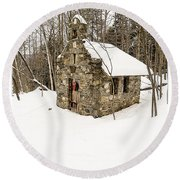Chapel In The Woods Stowe Vermont Round Beach Towel