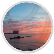 Charleston Harbor Sunset Round Beach Towel