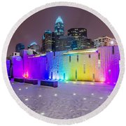 Charlotte Queen City Skyline Near Romare Bearden Park In Winter Snow Round Beach Towel