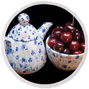 Cherries Invited To Tea Round Beach Towel