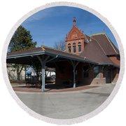 Chicago Rock Island Pacific Railway Depot Round Beach Towel