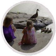 Children At The Pond 3 Round Beach Towel
