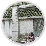 Children On Street Of Yangon Myanmar Round Beach Towel