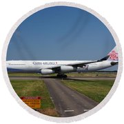 China Airlines Airbus A340 Round Beach Towel