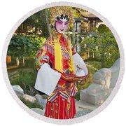 Chinese Opera Girl - In Full Traditional Chinese Opera Costumes. Round Beach Towel
