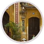 Chinese Temple In Hanoi Vietnam Round Beach Towel