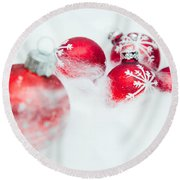 Christmas Decorations Round Beach Towel