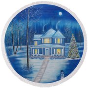 Christmas In Blue Round Beach Towel