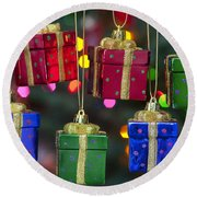 Christmas Present Ornaments Round Beach Towel