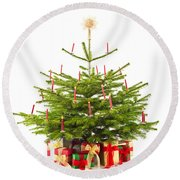 Christmas Tree Decorated With Presents  Round Beach Towel