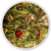 Christmas Tree Ornaments Round Beach Towel