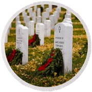 Christmas Wreaths Laid At The Arlington Cemetery Round Beach Towel
