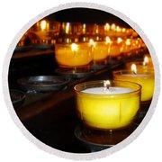 Church Candles Round Beach Towel