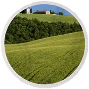 Church In The Field Round Beach Towel