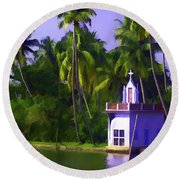 Church Located Next To A Canal Round Beach Towel