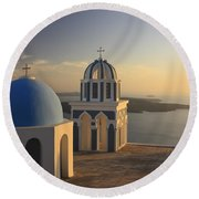 Churches At Sunset Firostefani Santorini Cyclades Greece  Round Beach Towel