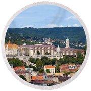 City Of Budapest Round Beach Towel