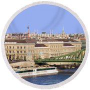 City Of Budapest In Hungary Round Beach Towel