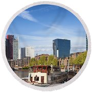 City Of Rotterdam In Netherlands Round Beach Towel
