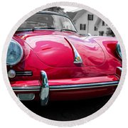 Classic Red P Sports Car Round Beach Towel