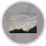 Clouds Above The Trees Round Beach Towel