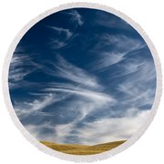 Clouds And Field Round Beach Towel
